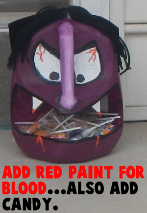 Add red paint for blood.... also add candy.