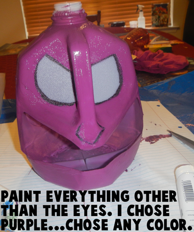 Paint everything other than the eyes.