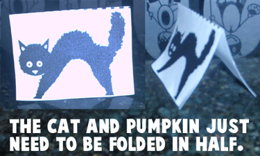 The cat and pumpkin just need to be folded in half.