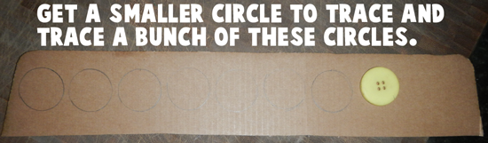 Get a smaller circle to trace and trace a bunch of these circles.