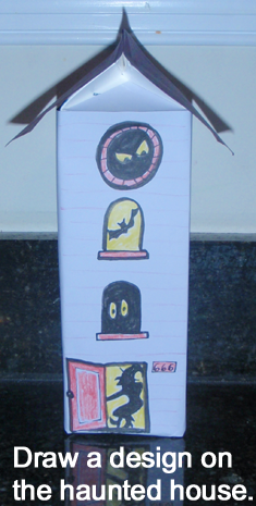 Draw a design on the haunted house.