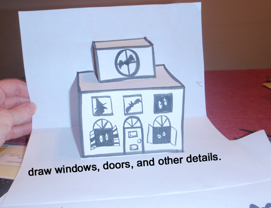 Draw windows, doors and other details.