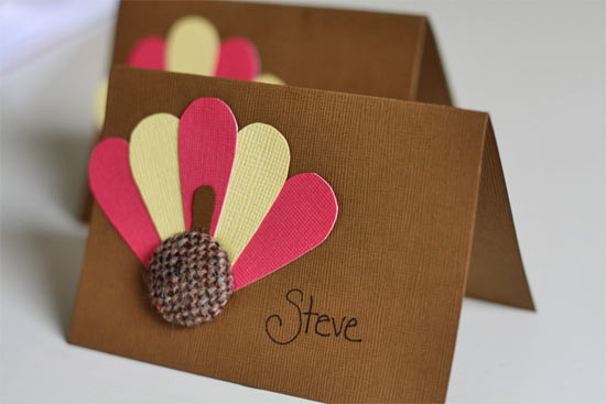 Burlap Button Turkey Place Cards