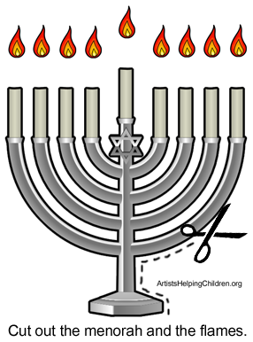 Cut out the menorah and the flames.