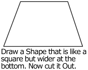 Draw a shape that is like a square, but wider at the bottom.