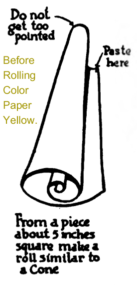 From a piece of about 5 inches square make a roll similar to a cone.