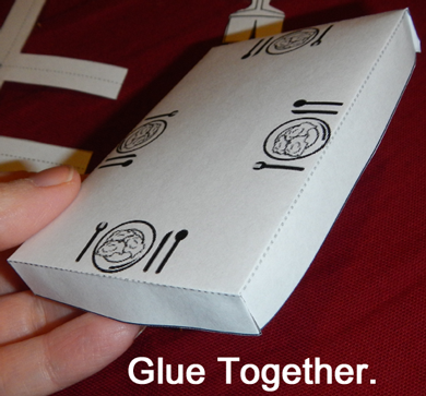 Glue together.