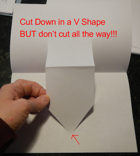 Cut down in a V shape, but don't cut all the way!