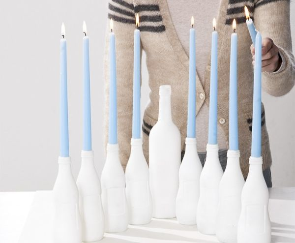 Glass Bottle Menorah