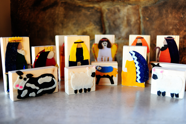 Wooden Block Nativity Scene