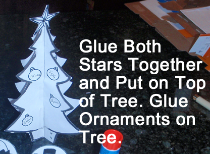 Glue both stars together and put on top of tree.  Glue ornaments on tree.