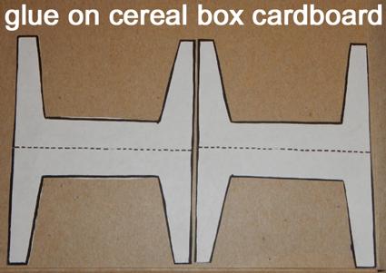 Glue on cereal box cardboard.