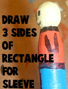 Draw three sides of rectangle for sleeve.