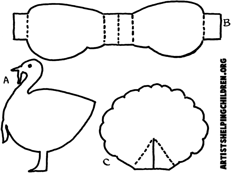 Black And White Paper Turkey Template