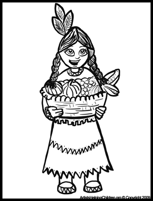 Thanksgiving Native American Indian Girl With Corn Coloring Pages Printouts