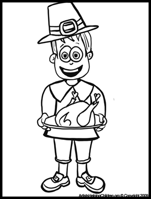 Thanksgiving Pilgrim With Turkey Plate Coloring Pages And Printouts