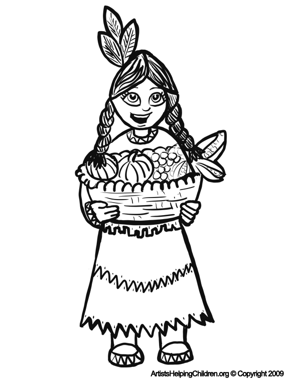 happy thanksgiving native american indian girl with basket coloring pages and free printable for kids - Girl Indian Coloring Pages