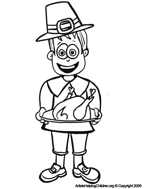 Thanksgiving Pilgrim Man with Turkey Coloring Pages Printouts ...