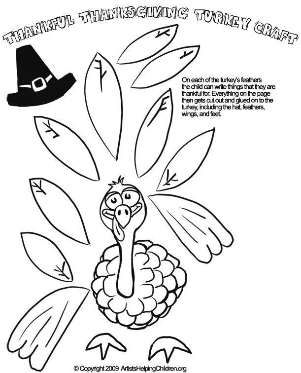 Thanksgiving Turkey Paper Doll Crafts Activity Coloring Pages