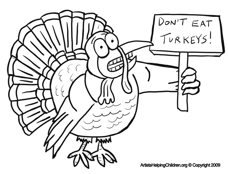 thanksgiving scared turkey dont eat turkey coloring page and free printable for kids - Pictures Of Turkeys For Kids 2