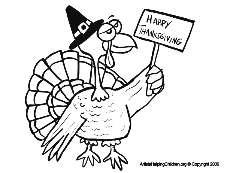 Happy Thanksgiving Turkey Coloring Pages Printouts ...