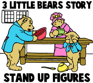 Three Little Bears Story Stand-Up Figures