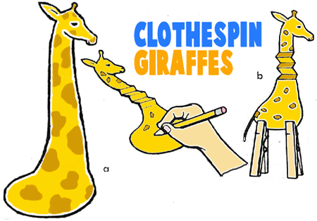 Outline of Giraffe for Preschoolers http://www.artistshelpingchildren.org/clothespinsartscraftstideaskidsprojects.html