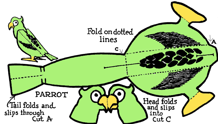 Make A Foldable Printable Standing Parrot