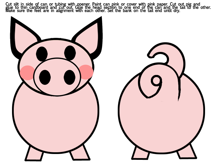 pig puppet template - printable pig paper bag craft puppet