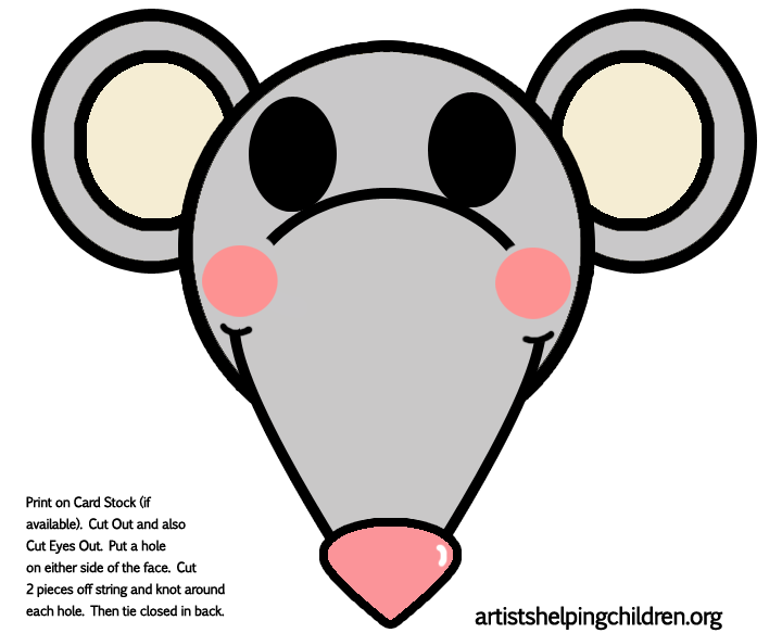 Mouse rat crafts for kids ideas to make mice rats for Printable mouse mask template