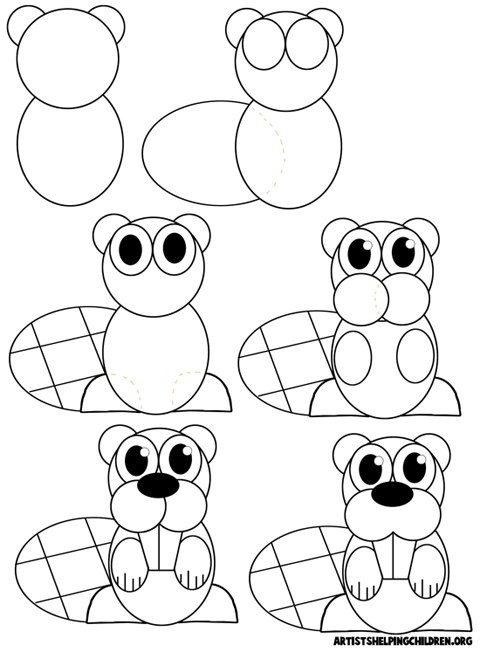 How to Draw Cartoon Beavers