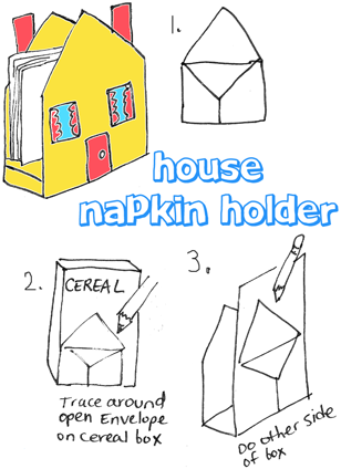 House Napkin Holder from Cereal Boxes