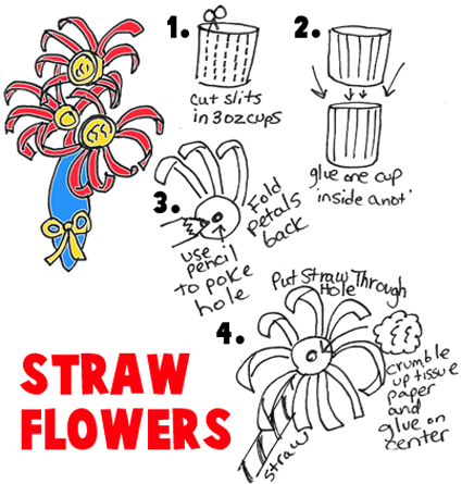 Make Flowers with Drinking Straw and Cups