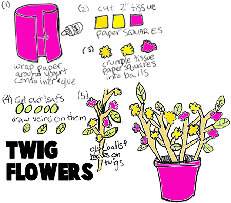 Tissue Paper Twiggy Stick Flowers