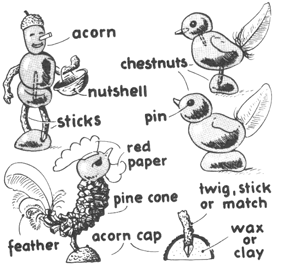 Make Farmer Guy and Chickens from Nuts, Acorns, and Twigs