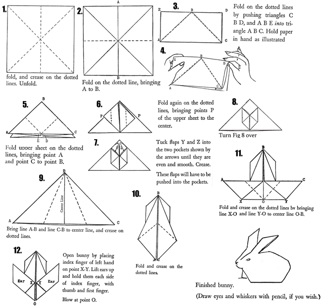 Origami bunny rabbit diagram instructions