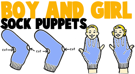 Make a Boy and Girl Sock Puppets