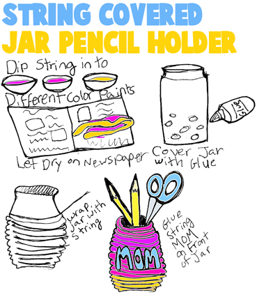 String Covered Jar Pencil Holders