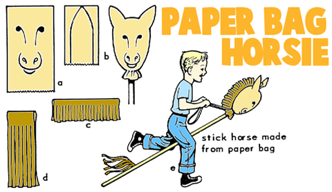 Making Paper Bag Ride On Hobby Horses
