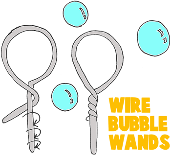 make giant bubble wands with wire coat hangers