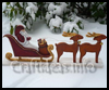Wooden   Santa with his Sleigh and Reindeer