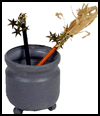 Cauldron   Broom and Wand (Pencil) Holder