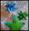 Green   and Turquoise Blue Felt Star Tree Ornament