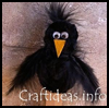 Chenille   Crow Plant Stick / Bookmarker / Puppet