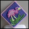 Plastic   Canvas Flamingo Pin