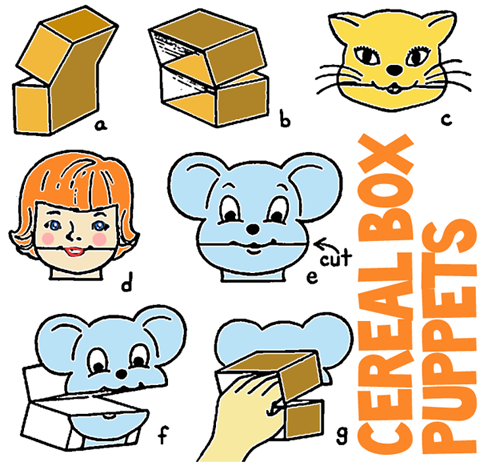 Making Puppets with Cereal Boxes