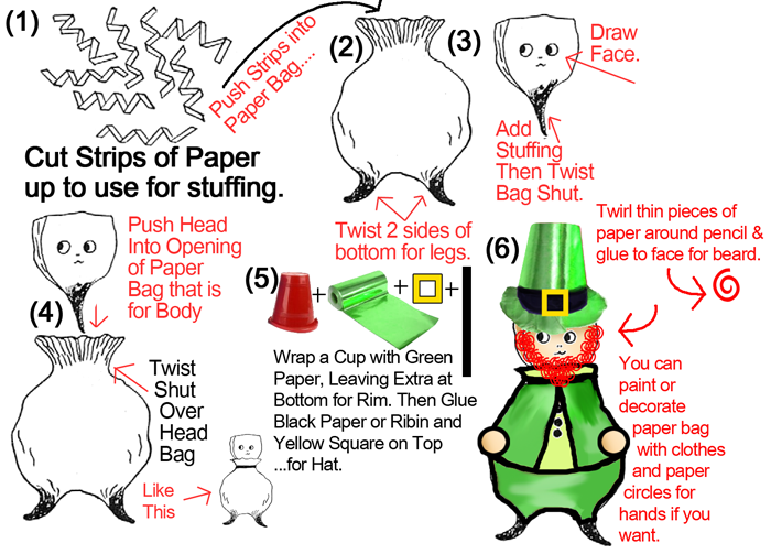 Paper Bag Leprechauns for St Patricks Day