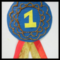 #1 Ribbon Badge Made from Cereal Box and Ribbon