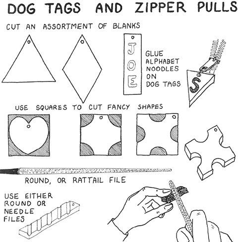 how to make wooden dog tags and zipper pulls for kids woodworking