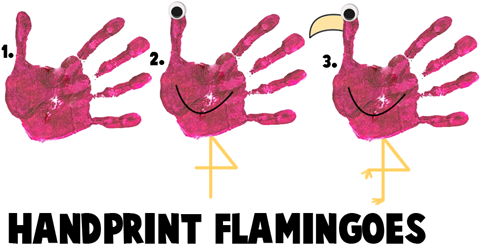 Handprint Flamingoes